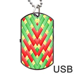 Christmas Geometric 3d Design Dog Tag Usb Flash (two Sides)