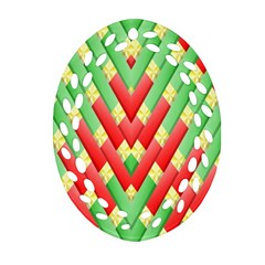 Christmas Geometric 3d Design Oval Filigree Ornament (two Sides)