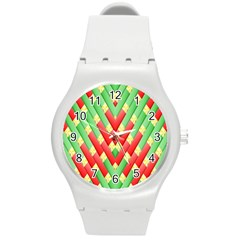 Christmas Geometric 3d Design Round Plastic Sport Watch (m)