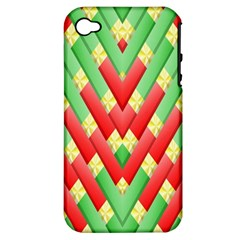 Christmas Geometric 3d Design Apple Iphone 4/4s Hardshell Case (pc+silicone)