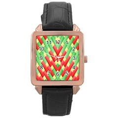 Christmas Geometric 3d Design Rose Gold Leather Watch
