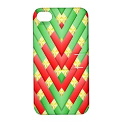 Christmas Geometric 3d Design Apple Iphone 4/4s Hardshell Case With Stand