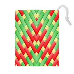 Christmas Geometric 3d Design Drawstring Pouches (extra Large)