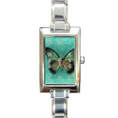 Butterfly Background Vintage Old Grunge Rectangle Italian Charm Watch