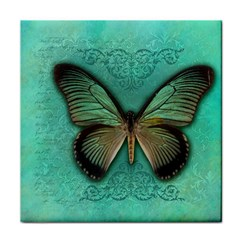 Butterfly Background Vintage Old Grunge Tile Coasters