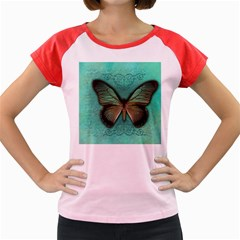 Butterfly Background Vintage Old Grunge Women s Cap Sleeve T Shirt