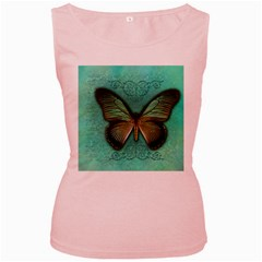 Butterfly Background Vintage Old Grunge Women s Pink Tank Top