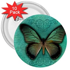 Butterfly Background Vintage Old Grunge 3  Buttons (10 Pack)