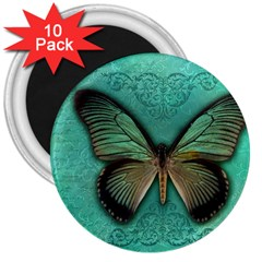 Butterfly Background Vintage Old Grunge 3  Magnets (10 pack)