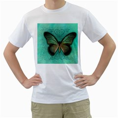 Butterfly Background Vintage Old Grunge Men s T Shirt (white) (two Sided)