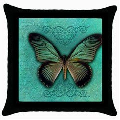 Butterfly Background Vintage Old Grunge Throw Pillow Case (black)