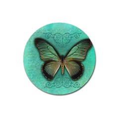 Butterfly Background Vintage Old Grunge Magnet 3  (round)