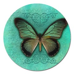 Butterfly Background Vintage Old Grunge Magnet 5  (Round)