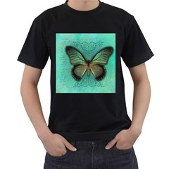 Butterfly Background Vintage Old Grunge Men s T Shirt (black) (two Sided)