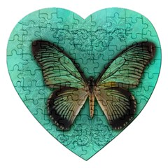 Butterfly Background Vintage Old Grunge Jigsaw Puzzle (heart)