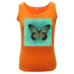 Butterfly Background Vintage Old Grunge Women s Dark Tank Top