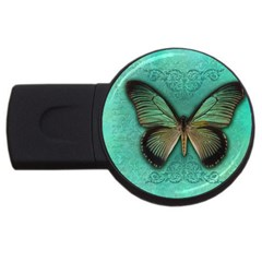 Butterfly Background Vintage Old Grunge Usb Flash Drive Round (4 Gb)