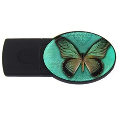 Butterfly Background Vintage Old Grunge Usb Flash Drive Oval (4 Gb)