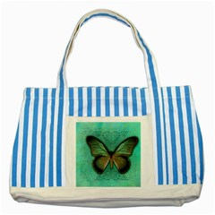 Butterfly Background Vintage Old Grunge Striped Blue Tote Bag
