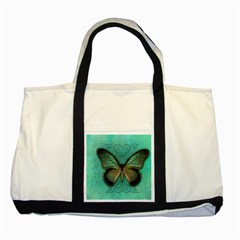 Butterfly Background Vintage Old Grunge Two Tone Tote Bag