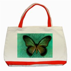 Butterfly Background Vintage Old Grunge Classic Tote Bag (red)