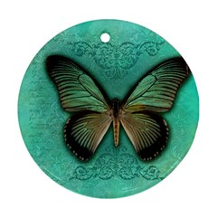 Butterfly Background Vintage Old Grunge Round Ornament (two Sides)