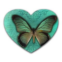 Butterfly Background Vintage Old Grunge Heart Mousepads