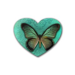 Butterfly Background Vintage Old Grunge Heart Coaster (4 Pack)