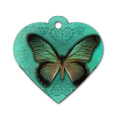 Butterfly Background Vintage Old Grunge Dog Tag Heart (one Side)