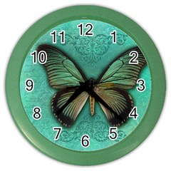 Butterfly Background Vintage Old Grunge Color Wall Clocks