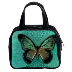 Butterfly Background Vintage Old Grunge Classic Handbags (2 Sides)