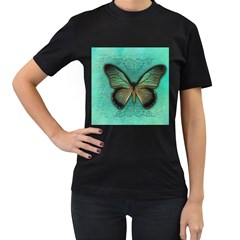Butterfly Background Vintage Old Grunge Women s T Shirt (black)
