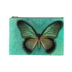 Butterfly Background Vintage Old Grunge Cosmetic Bag (large)