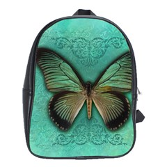 Butterfly Background Vintage Old Grunge School Bags(large)
