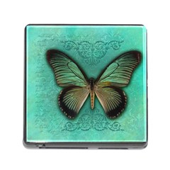 Butterfly Background Vintage Old Grunge Memory Card Reader (square)