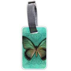 Butterfly Background Vintage Old Grunge Luggage Tags (two Sides)