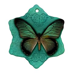 Butterfly Background Vintage Old Grunge Ornament (snowflake)