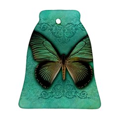 Butterfly Background Vintage Old Grunge Bell Ornament (two Sides)
