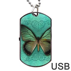 Butterfly Background Vintage Old Grunge Dog Tag Usb Flash (two Sides)