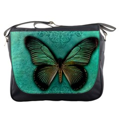 Butterfly Background Vintage Old Grunge Messenger Bags