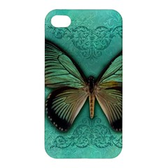 Butterfly Background Vintage Old Grunge Apple Iphone 4/4s Premium Hardshell Case