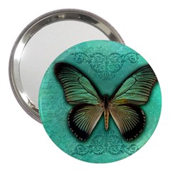 Butterfly Background Vintage Old Grunge 3  Handbag Mirrors