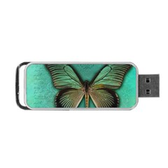 Butterfly Background Vintage Old Grunge Portable Usb Flash (two Sides)