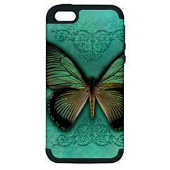 Butterfly Background Vintage Old Grunge Apple Iphone 5 Hardshell Case (pc+silicone)