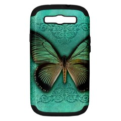 Butterfly Background Vintage Old Grunge Samsung Galaxy S Iii Hardshell Case (pc+silicone)