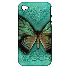 Butterfly Background Vintage Old Grunge Apple Iphone 4/4s Hardshell Case (pc+silicone)
