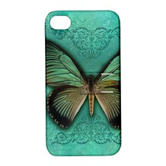 Butterfly Background Vintage Old Grunge Apple Iphone 4/4s Hardshell Case With Stand