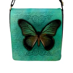 Butterfly Background Vintage Old Grunge Flap Messenger Bag (l)