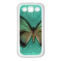 Butterfly Background Vintage Old Grunge Samsung Galaxy S3 Back Case (white)