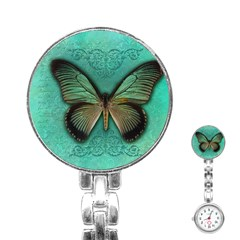 Butterfly Background Vintage Old Grunge Stainless Steel Nurses Watch